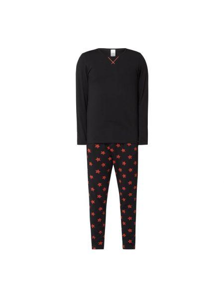 Czarna spodni piżama bawełniana z długimi rękawami Skiny