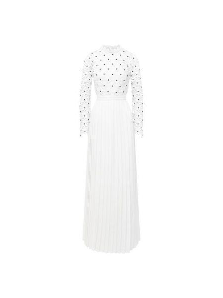 Белое платье макси с подкладкой Self-portrait