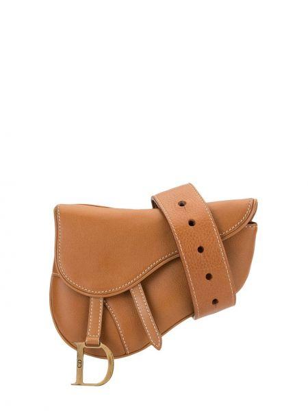 Коричневая поясная сумка с помпоном круглая с подвесками Christian Dior