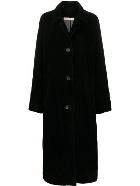 Черное длинное пальто оверсайз с воротником Marni