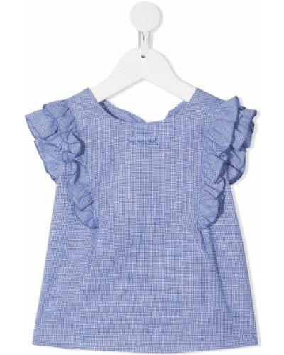 Синяя с рукавами блузка с вырезом Mi Mi Sol