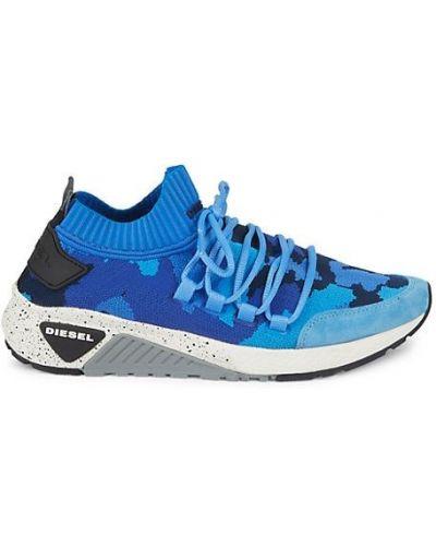 Синие замшевые кроссовки на шнурках Diesel