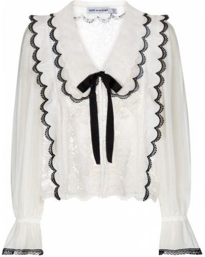 Кружевная белая блузка на шнурках Self-portrait