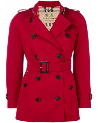 Длинное пальто в клетку с поясом Burberry