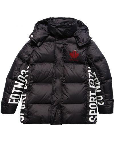 Czarny płaszcz z kapturem z nylonu Dsquared2