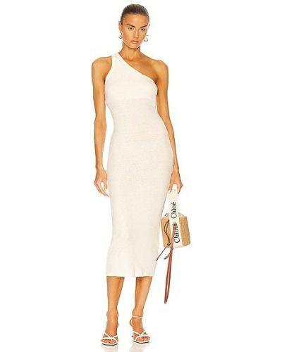 Белое повседневное кашемировое платье макси Enza Costa
