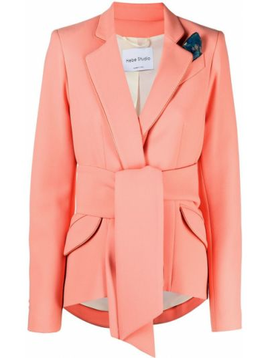 Однобортный розовый удлиненный пиджак с поясом Hebe Studio
