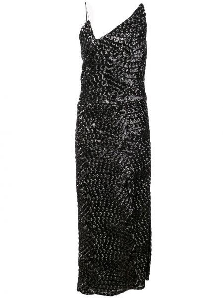 Тонкое платье миди с пайетками на бретелях с вырезом Christian Siriano