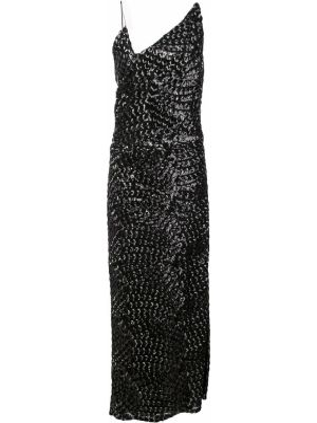 Платье миди с пайетками - черное Christian Siriano