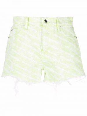 Джинсовые шорты с завышенной талией - зеленые Alexander Wang