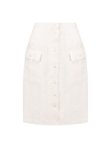 Льняная юбка - белая Kiton