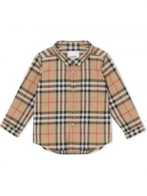 Коричневая классическая рубашка на пуговицах Burberry Kids