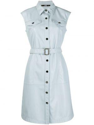Синее платье мини с поясом без рукавов Karl Lagerfeld