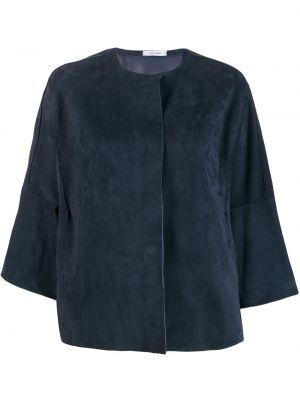 Синий кожаный короткая куртка с вырезом Salvatore Santoro