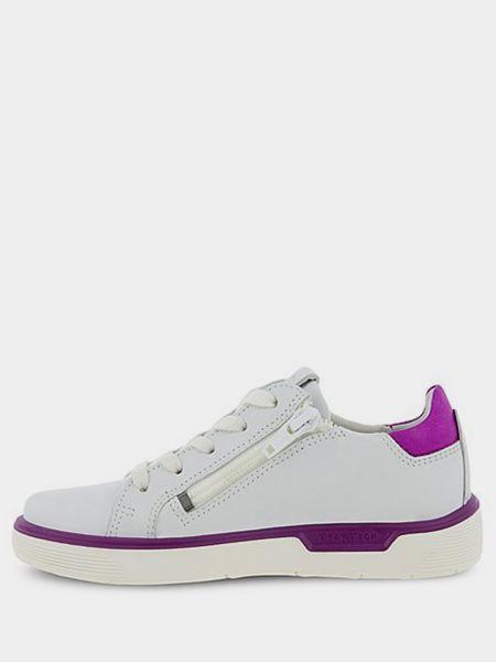 Кожаные белые низкие кеды на шнурках Ecco