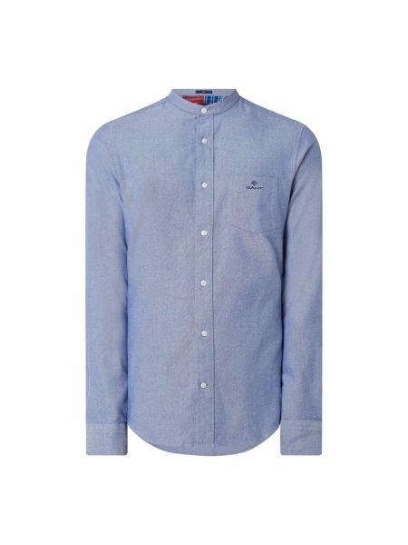 Niebieski bawełna bawełna z rękawami koszula oxford Gant