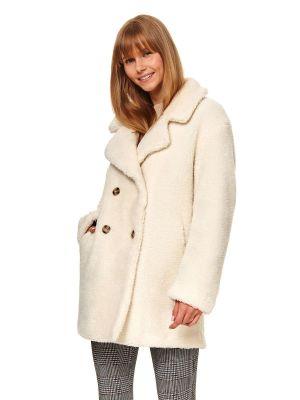 Biały płaszcz zapinane na guziki z długimi rękawami Top Secret