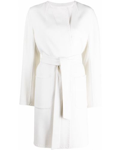 Прямое белое шерстяное длинное пальто Iris Von Arnim