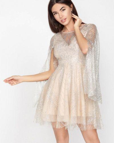 Вечернее платье весеннее бежевое Gepur