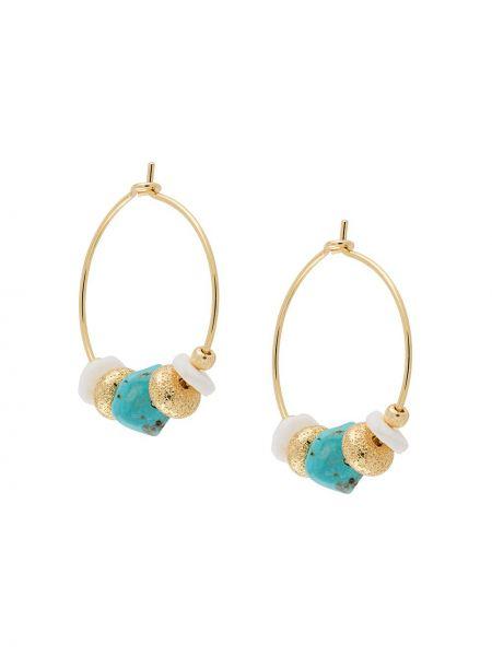Золотистые желтые серьги-кольца с бисером металлические Anni Lu