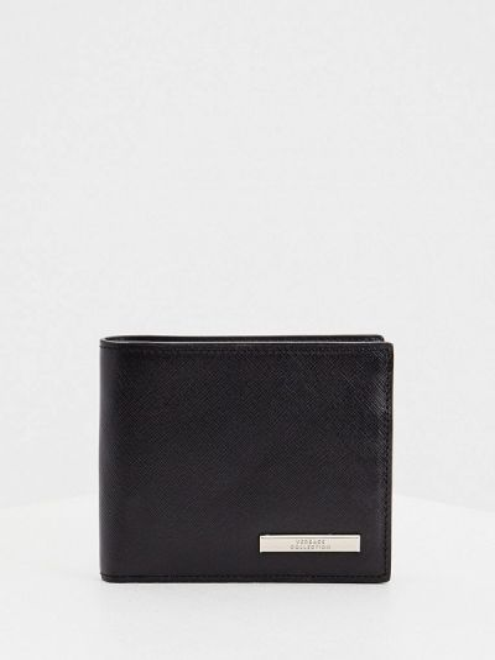 Кожаный черный кошелек Versace Collection