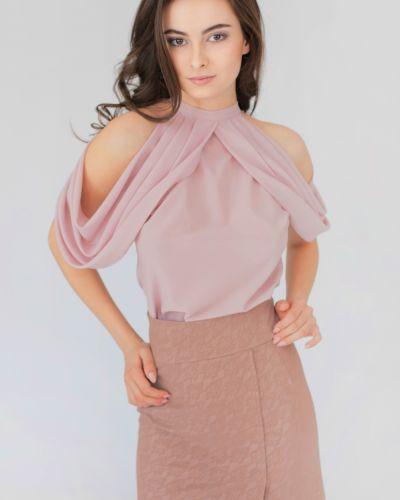 Блузка с открытыми плечами розовая прозрачная Lacywear