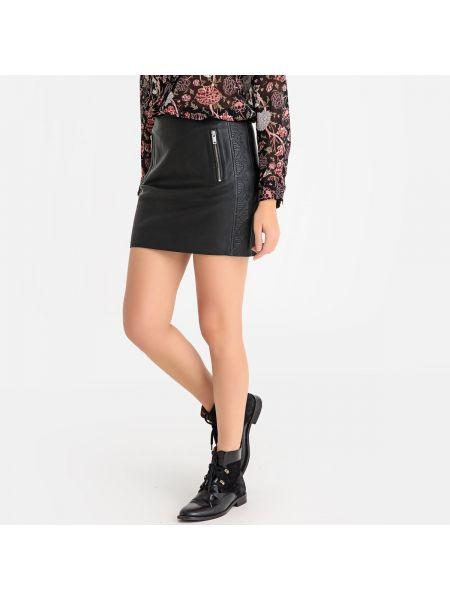 Черная прямая юбка мини на молнии с карманами Ikks
