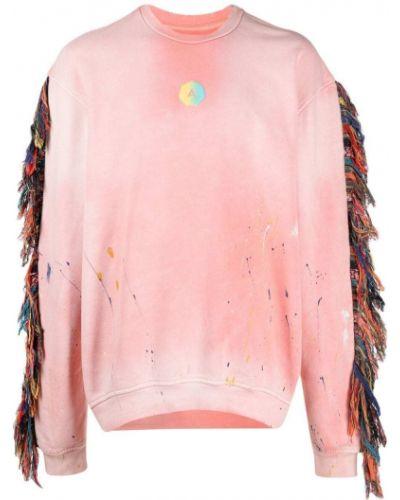 Różowa bluza długa z długimi rękawami bawełniana Alchemist