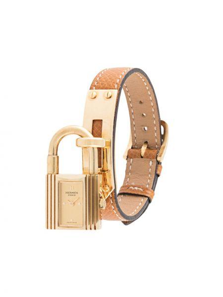 Brązowy złoty zegarek na skórzanym pasku pozłacany Hermes