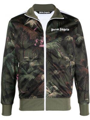 Prążkowana zielona długa kurtka z długimi rękawami Palm Angels