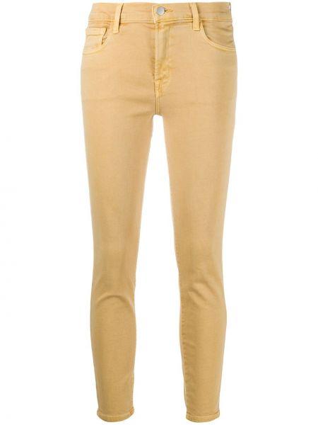 Зауженные желтые укороченные джинсы с карманами с заплатками J Brand