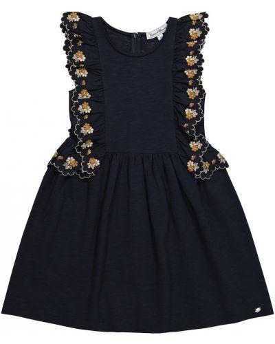 Хлопковое синее платье макси с вышивкой Tartine Et Chocolat