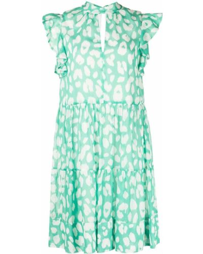 Zielona sukienka mini bez rękawów z printem Milly
