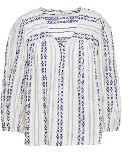 Bluzka z aksamitu - biała Velvet By Graham & Spencer