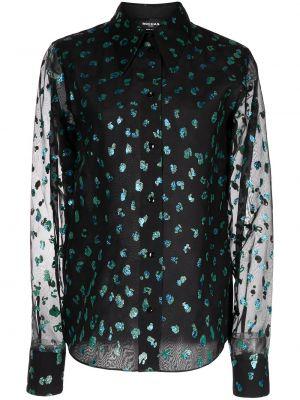 Блузка с вырезом - черная Rochas