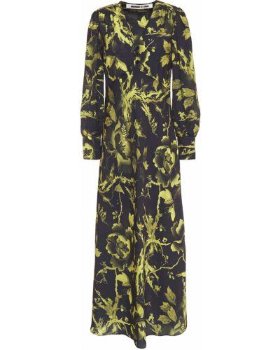Расклешенное черное платье миди на пуговицах Mcq Alexander Mcqueen