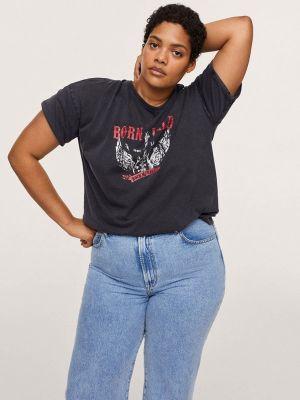 Серая футболка с короткими рукавами Violeta By Mango