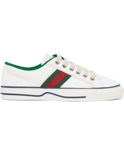 Zielone sneakersy sznurowane koronkowe Gucci
