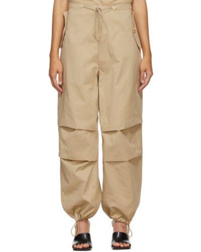 Бежевые брюки с карманами с манжетами Dion Lee
