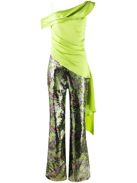 Zielony kombinezon z haftem asymetryczny Halpern