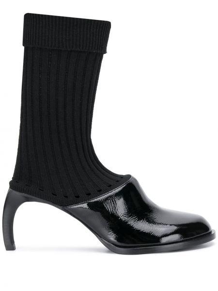 Кожаные черные слипы на каблуке Ann Demeulemeester