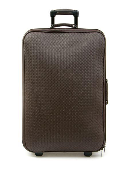 Кожаный коричневый чемодан с карманами на молнии Bottega Veneta