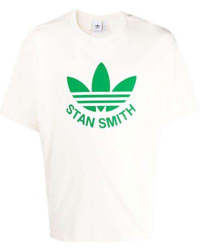 Biały t-shirt bawełniany z printem Adidas