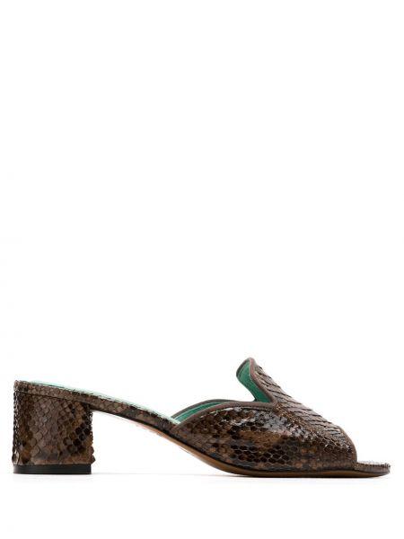 Туфли на каблуке кожаные с открытым носком Blue Bird Shoes