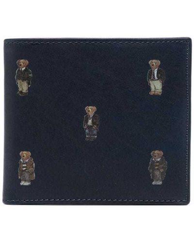 Синий кожаный кошелек со шлицей Polo Ralph Lauren
