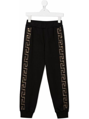 Prążkowane czarne spodnie bawełniane Young Versace