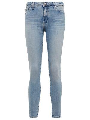 Хлопковые синие зауженные джинсы-скинни Ag Jeans