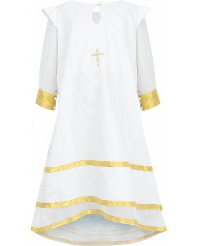Платье с рукавами хлопковое крестильное ангел мой