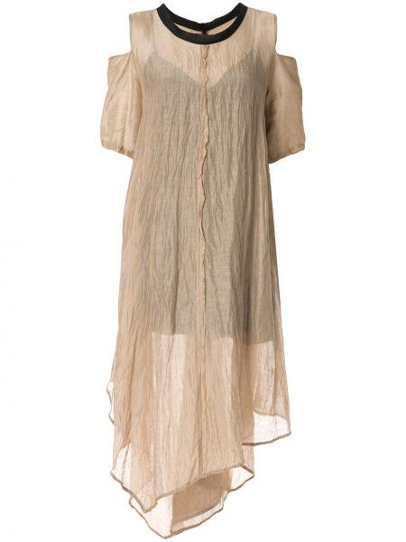 Асимметричное шелковое платье мини с вырезом с короткими рукавами Taylor