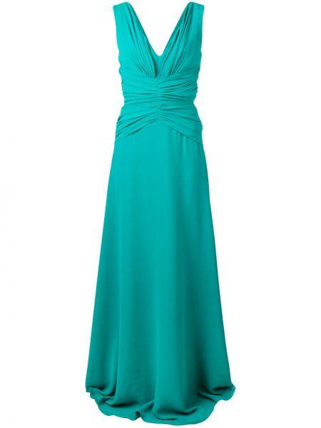 Зеленое приталенное вечернее платье без рукавов на молнии Rhea Costa